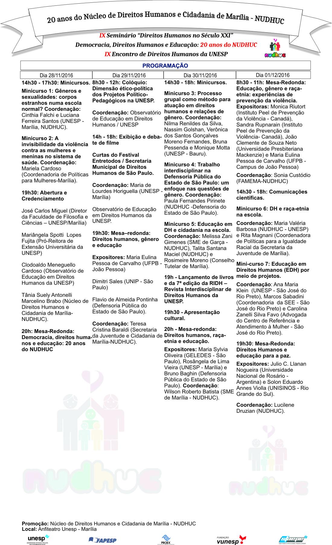Ix semin rio direitos humanos no s culo xxi democracia direitos humanos e educa o 20 anos do nudhuc ix encontro de direitos humanos da unesp